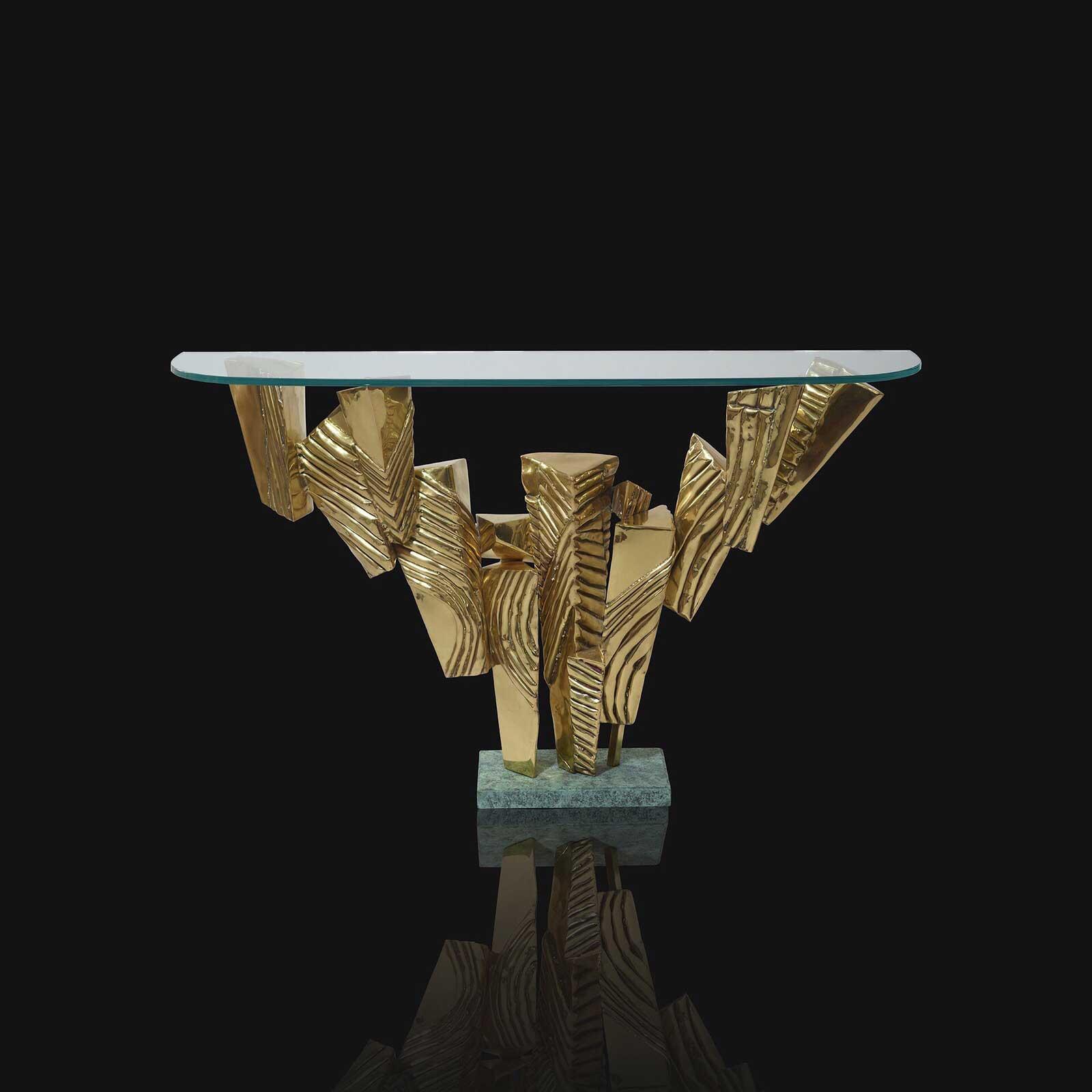 console sculpture en laiton et verre.