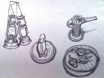 Lampes à pétrole lamba et fanous traditionnels en terre